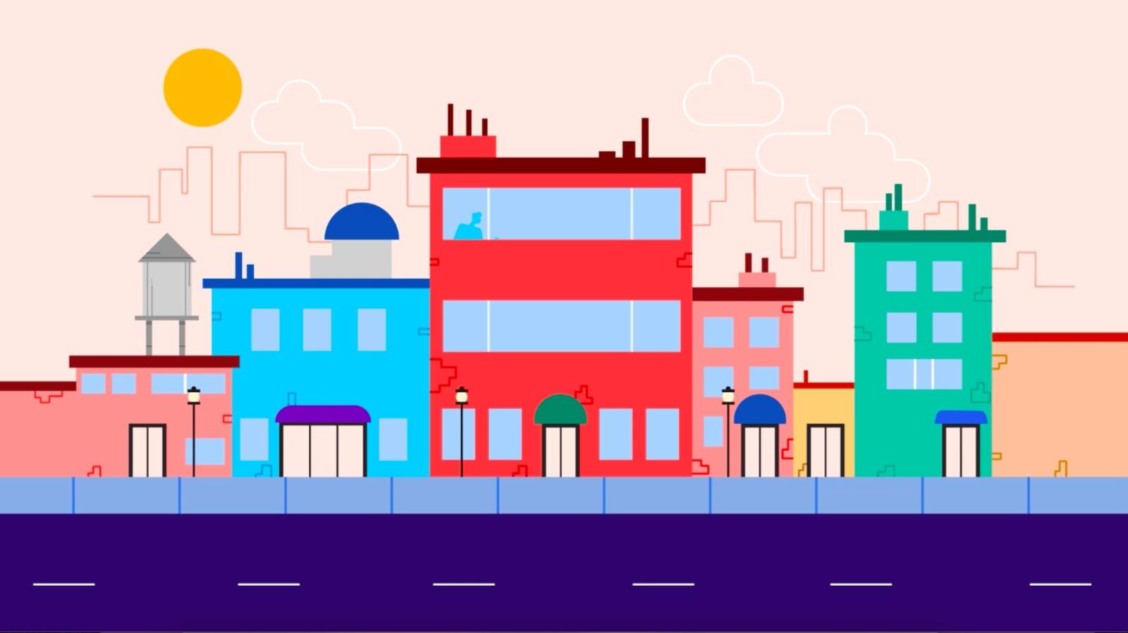 City Skyline Illustration of office buildings