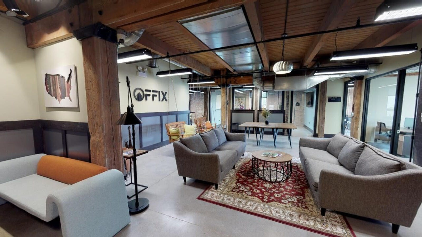 Chicago Coworking Space interior - wood beam loft style office space